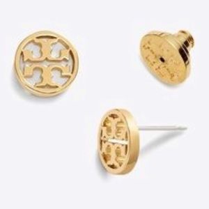New Tory Burch round logo stud earrings gold